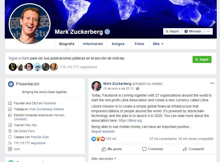 Post de Marck Zuckenberg del 18 de junio referente al lanzamiento de la Criptomoneda Libra
